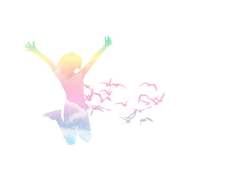 Happy girl jumping with bird on white background,independence concept