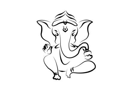 hindu ganesha draw on white background