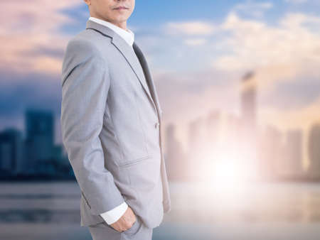 Business man with city background