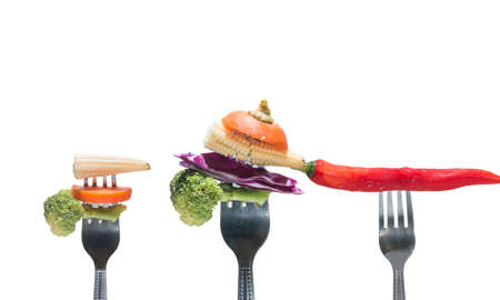vegetables and red chilli on forks, copy space,diet concept