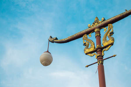 Traditional Thai style post lamp, Nan Thailand Фото со стока