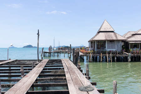 KOH CHANG, THAILAND - 5 MAY, 2019: Houses on stilts in the fishing village