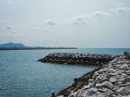 seascapes: Rock paths with sea and mountain