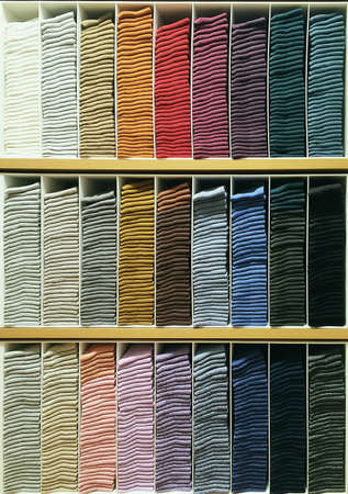 clothes: Various colors socks stacked on shelf