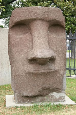 Easter Island sculpture at the Nature History Museum of Los Angeles Stock Photo
