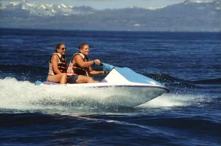 Seadoo water bike with two riders Imagens - 249993