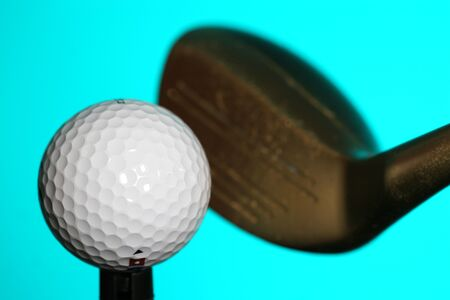 close-up of club and golf ball Imagens