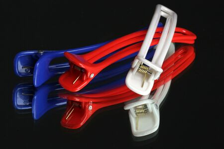 red white and blue hair clips