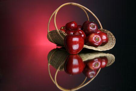 reflection of a full basket of fruit Banco de Imagens