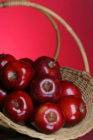 close up of basket of apples