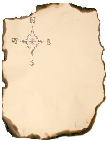 scorched: burned paper edge with compass rose