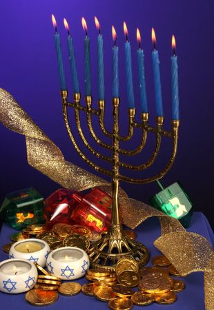 all candle lite on the traditional Hanukkah menorah Stock Photo - 260865