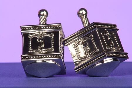 two silver dreidels a traditional Jewish game Imagens - 260860