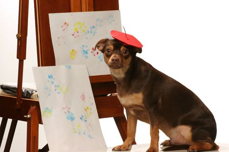 artistic dog with his paw print painting