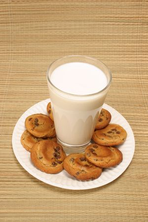 glass of milk surrounded by chocolate chip cookies