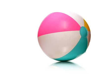 colorful rubber beach ball on white with copy space