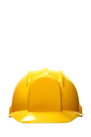 headgear: yellow safety headgear on white background with copy space