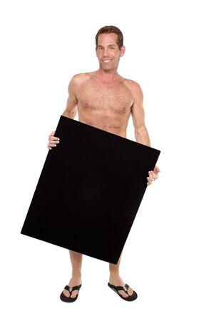 full body guy holding a black sign board on white backdrop Imagens