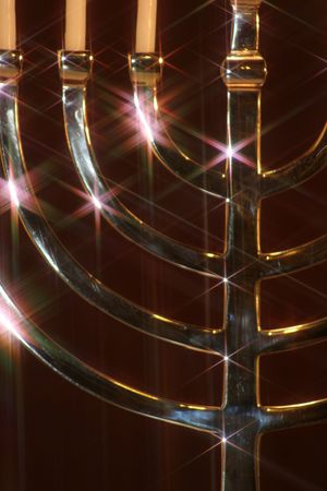 close up of silver menorah with star filter effect
