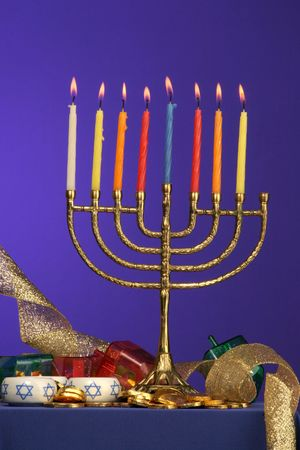 traditional Hanukkah menorah eight candles lite Stock Photo - 275683