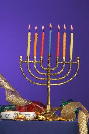 traditional Hanukkah menorah seven candles lite Stock Photo - 275682