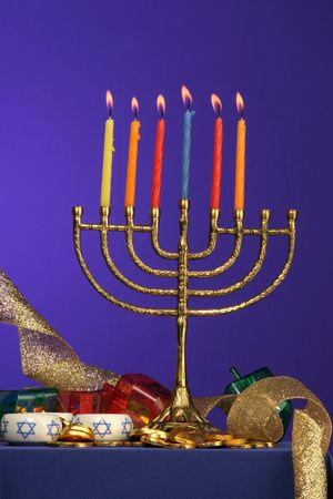 traditional Hanukkah menorah six candles lite Stock Photo - 275681