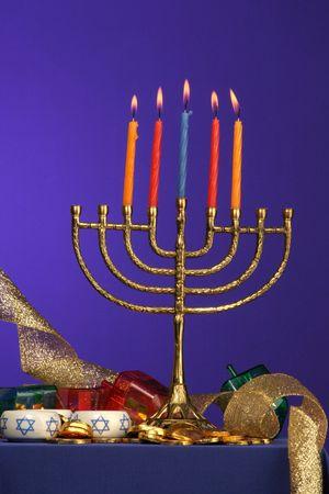traditional Hanukkah menorah five candles lite Stock Photo - 275680