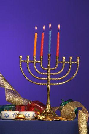 traditional Hanukkah menorah four candles lite Stock Photo - 275679
