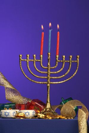 traditional Hanukkah menorah three candles lite Stock Photo - 275678