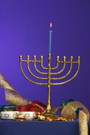 traditional Hanukkah menorah center candle lite Stock Photo - 275676