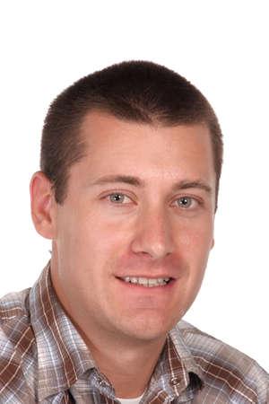 headshot of a youthful lad on white