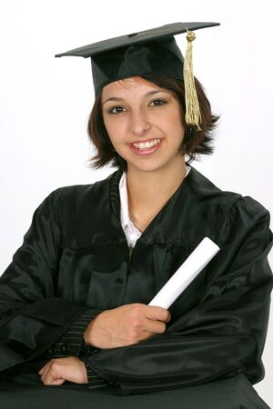 holding diploma as she graduates on white background