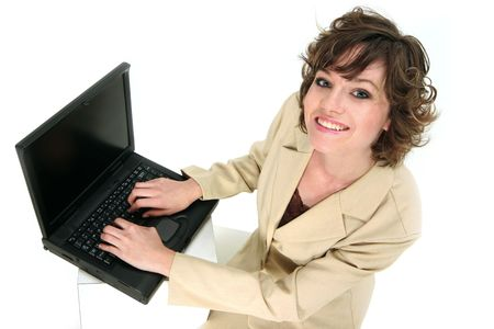 customer service reps communicating with you over her laptop Stock Photo