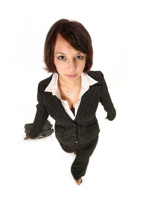 brisk: girl in pants suit walking forward at a brisk pace