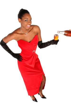 beautiful African American toasting with a glass of wine to celebrates with you Stock Photo - 288212