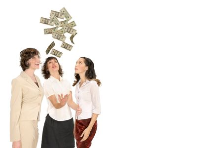 women reach for money from above isolated on white with copy space