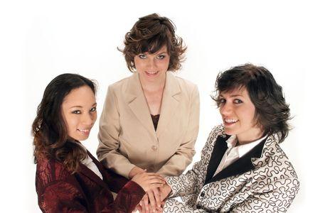 all in: tres mujeres en todas las manos uno encima del otro