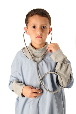 young boy listens to his in blue scrubs isolated on white Imagens