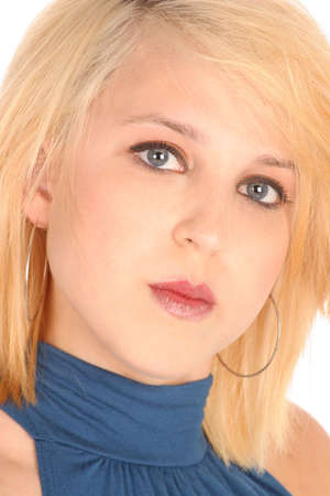 pretty girl with steel blue eyes and blonde hair