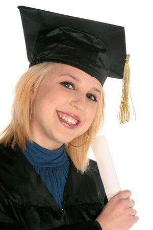 lovely girl holding diploma as she graduate's on white background
