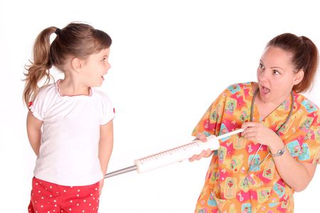 immunize: expression of this nurse as she gives this child a shot as she looks on in surprise