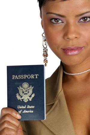 African American woman hands you her passport photo