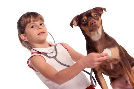 threw: young girls listens threw her stethoscope to hear her dogs  Stock Photo