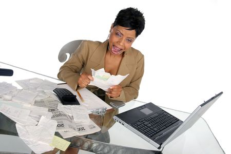 young woman shows her frustration at her financial situation Imagens - 348328