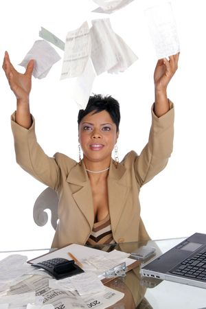 woman tosses her bills up in the air Imagens - 348333