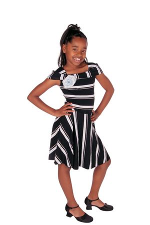 american children: full view of a cute African American girl on white