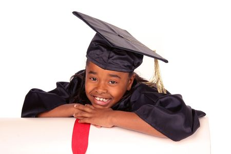 young girl resting on her diploma