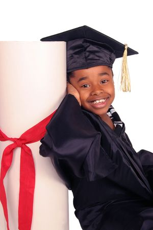 scholarship: young girl leaning on her diploma Stock Photo