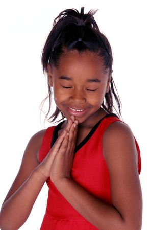 young African American says her prayers Stock Photo - 351003