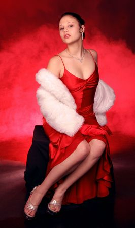 charming woman in red dress waiting for you